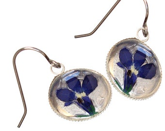Iris Flower /sterling silver earrings
