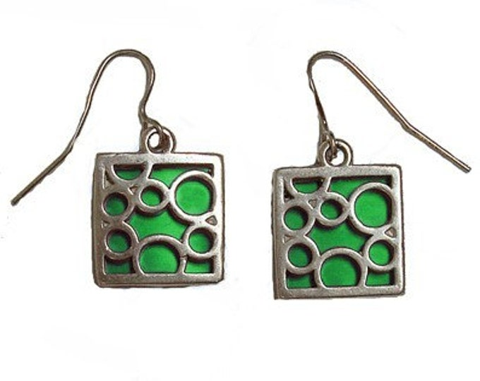 small green square bubble earrings