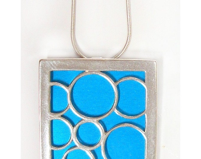 recycled aluminum/silver AQUA Large square bubble pendant