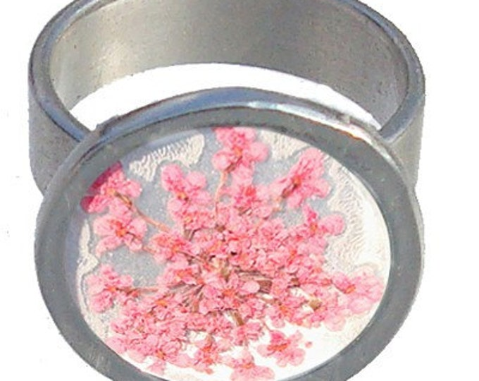 Silver Ring with Pink Queen Ann's Lace Flowers