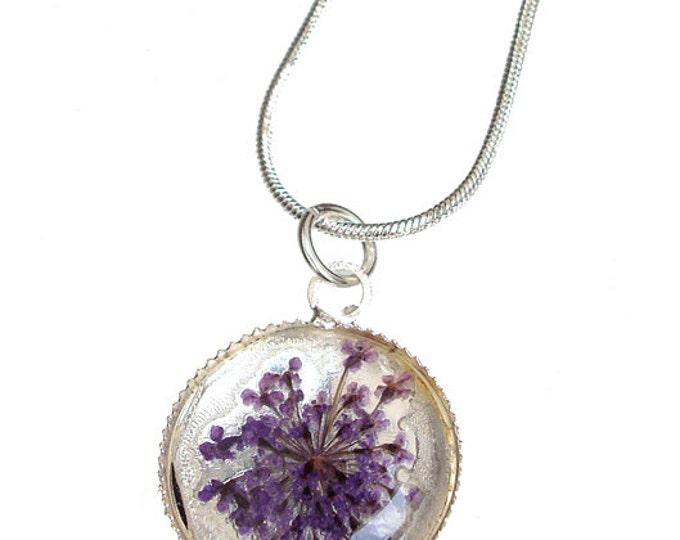 purple queen anns lace silver pendant