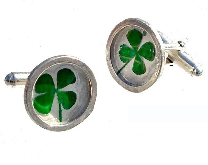Silver Cuff Links with real clovers/ Father's Day