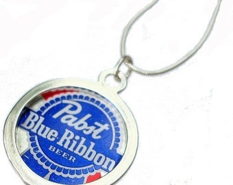 PBR Beer Bottle Cap/ Sterling Silver Pendant