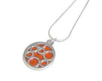 Small Round Orange Bubble pendant