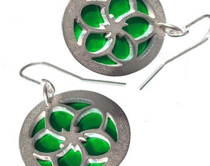 Reversible Flower Earrings with Green front and Blue back
