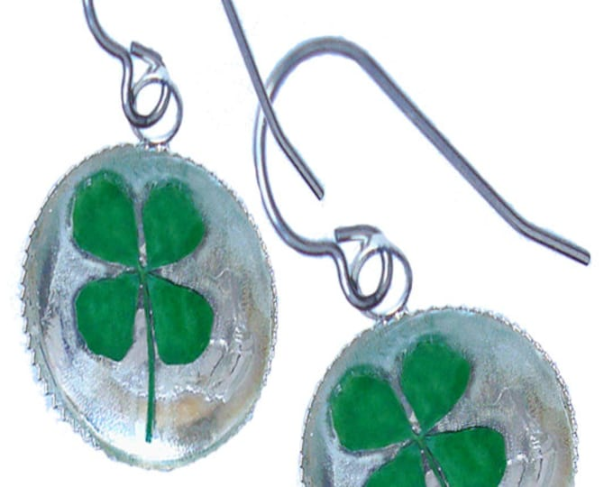 Real pressed  four leaf clover/sterling silver earrings/ St. Patrick's Day