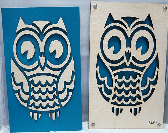 Owl from Plywood and Recycled Aluminum in orange