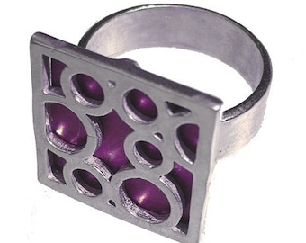 Medium Square Bubble Ring in Purple