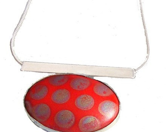 Vintage Porcelain Tile silver Pendant in Red