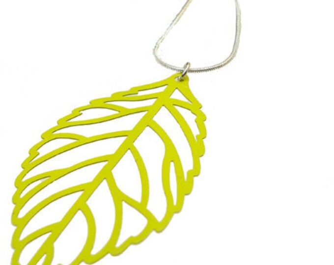 Enameled Filigree Leaf Pendant in Lime Green
