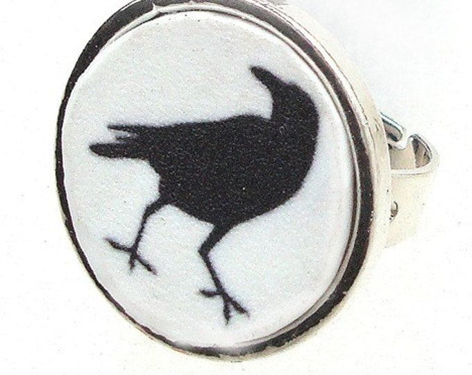 Raven Bird or custom image ring with your own photo