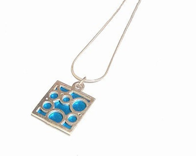 Handmade Sterling Silver Bubbly Necklace with Aqua Aluminum