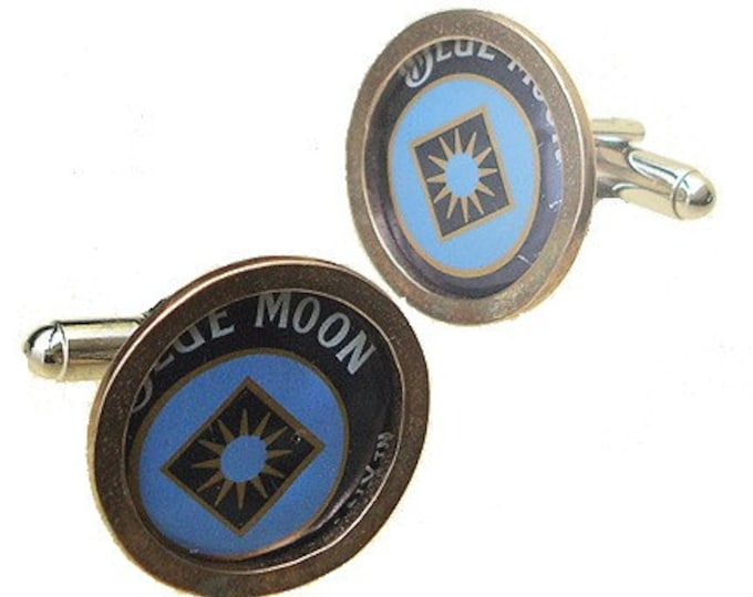 Blue Moon bottle cap cuff links in Brass