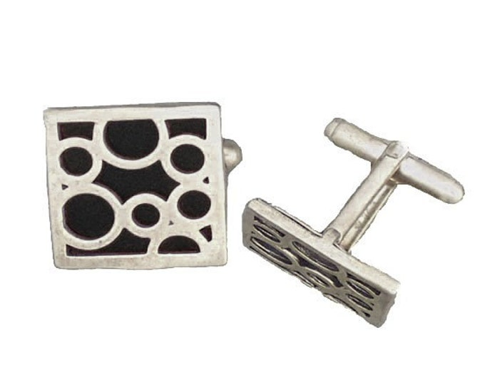 Square sterling silver black bubble cufflinks