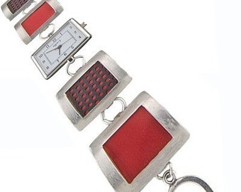 Square Recycled Aluminum and silver watch