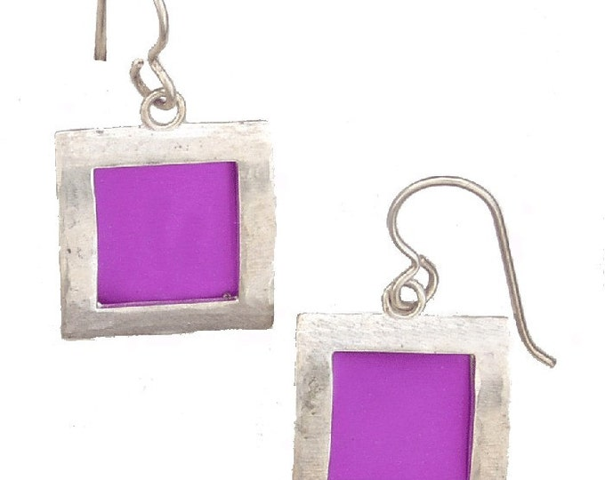 recycled aluminum/silver square earrings