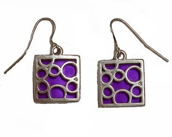 small square Purple bubble earrings