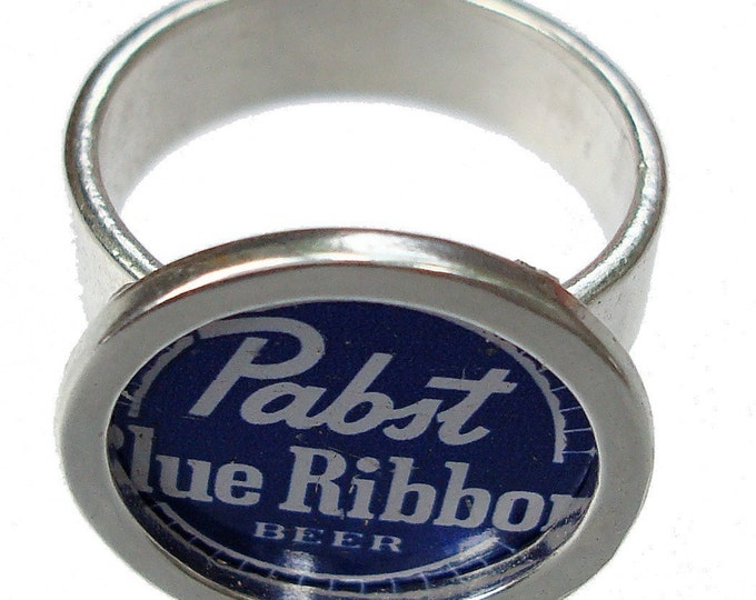 Pabst Blue Ribbon Bottle Cap/ Sterling Silver Ring