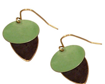 Brass Patina Earrings in Black and Green