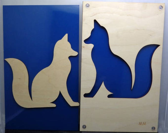 Set of 2 Fox made of Plywood and Recycled Aluminum in blue