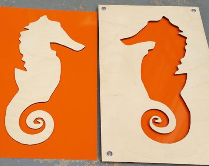 Seahorse SET of 2 from Plywood and Recycled Aluminum in orange