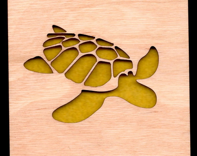 4 Turtle Coasters wooden laser cut natural eco-friendly Waterproof plywood birch and Felt