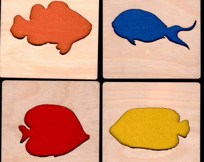 4 Fish Coasters wooden laser cut natural eco-friendly Waterproof plywood birch and Felt