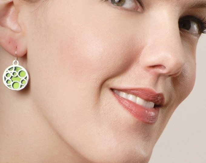 valentine's day gifts of round bubble earrings in LIME