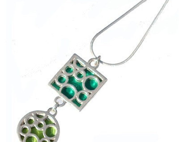 ON SALE Mix Bubble Pendant of sterling silver and Lime and Green