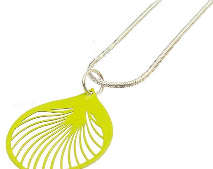 Enameled Filigree Ginkgo Leaf Pendant in Lime Green