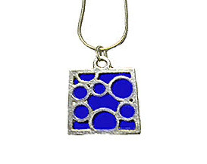 Medium Square Blue Bubble pendant