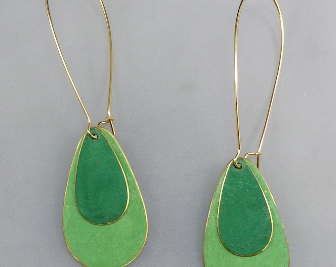 Brass Patina Teardrop Earrings in light green and green