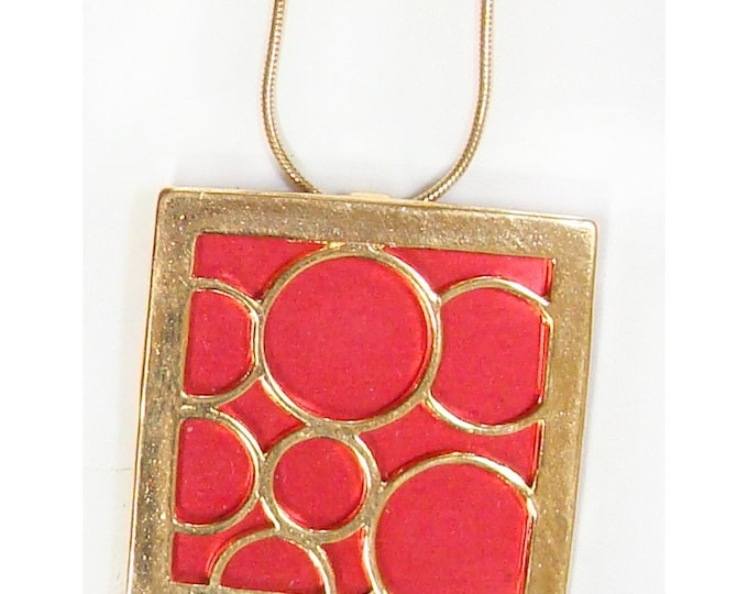 recycled aluminum/20k gold vermeil lrg. square bubble pendant