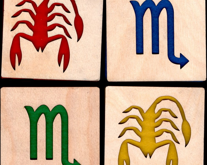 4 Scorpio Zodiac Astrological Coasters wooden laser cut natural eco-friendly Waterproof plywood birch and Felt