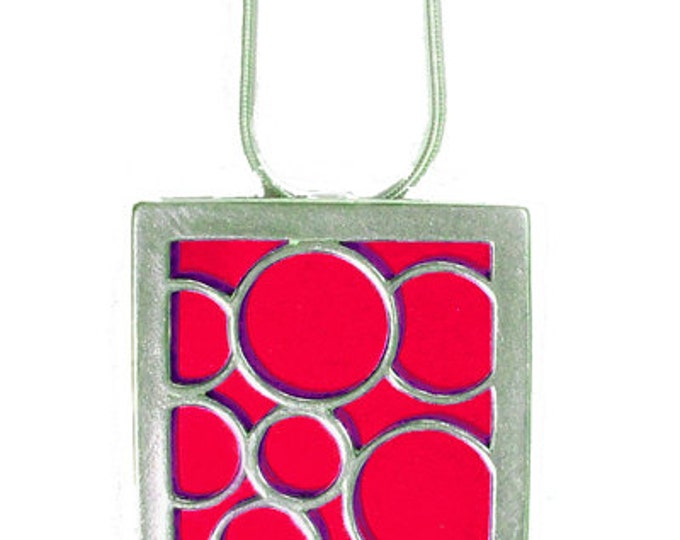 recycled aluminum and silver Red Large square bubble pendant
