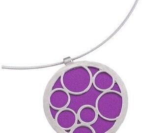 Purple Necklace, Recycled Aluminum Bubble Pendant