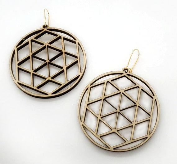 Wood Filigree Modern Hexagon/round Earrings
