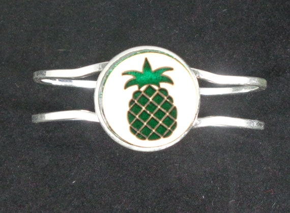 Pineapple Cuff Bracelet from cut Plywood and Felt set into Hinged Stainless Steel setting