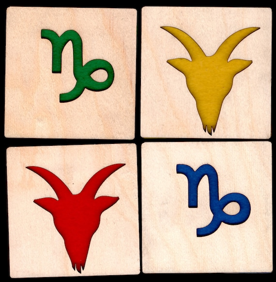 4 Capricorn Zodiac Coasters wooden laser cut natural eco-friendly Waterproof plywood birch and Felt