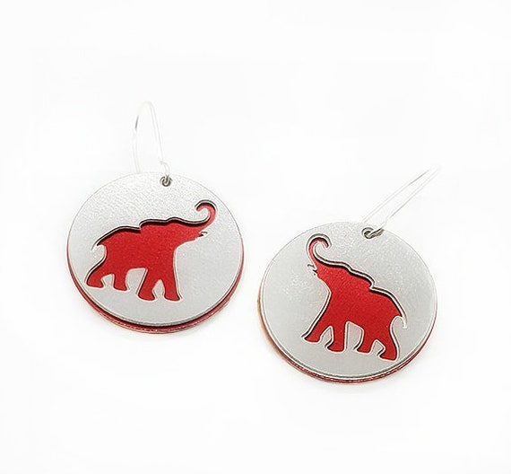 Reversible Elephant Earrings with Anodized Aluminum and Plywood