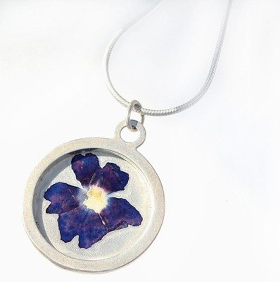 Purple Verbena sterling silver pendant