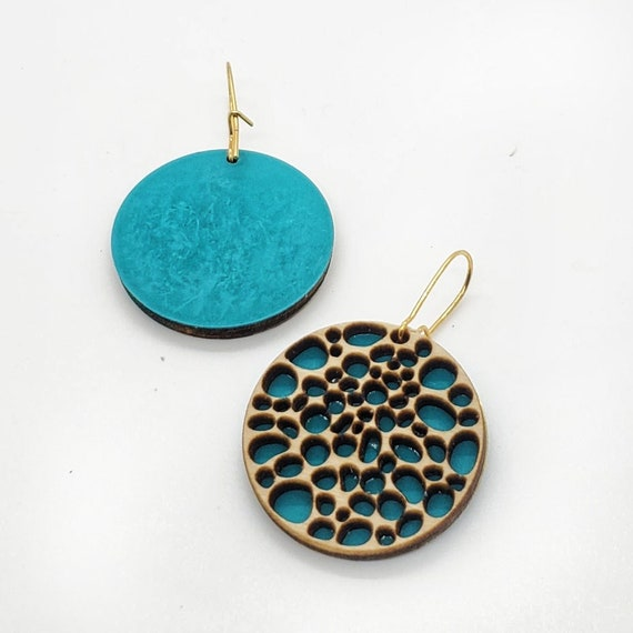 Brass Patina and Plywood Round Earrings in Teal