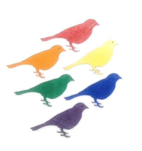 Wooden Bird Magnets 3 pcs - Fridge magnets - Wedding magnets - Save the date magnets- Custom
