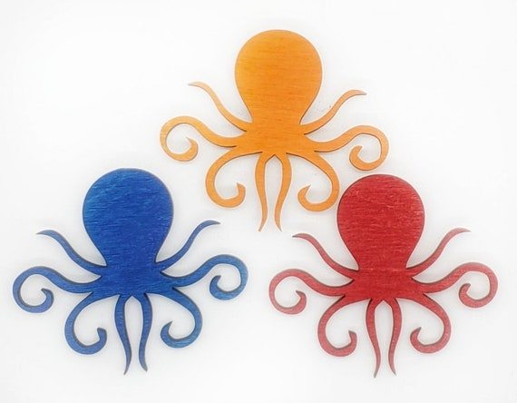Wooden Octopus Magnets 3pcs - Fridge magnets - Wedding magnets - Save the date magnets- Custom