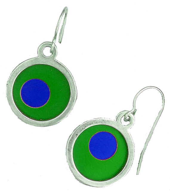 two tone Silver Round Small Earrings in Green and Blue