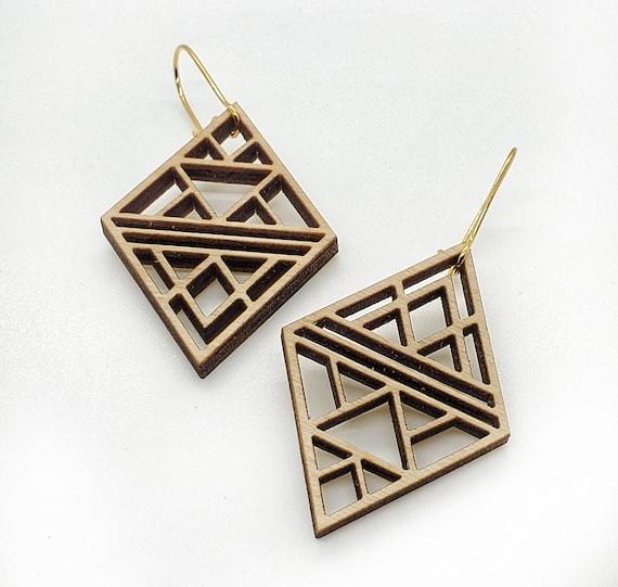 Wood Filigree Triangles Earrings