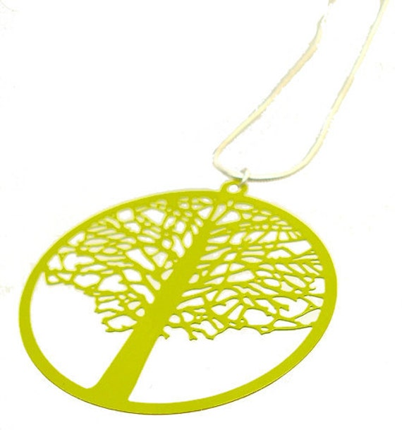 Enameled Filigree Tree Pendant in Lime Green