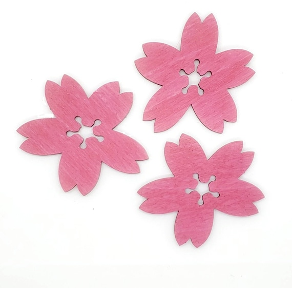 Wooden Cherry Blossom Magnets 3 pcs - Fridge magnets - Wedding magnets - Save the date magnets- Custom