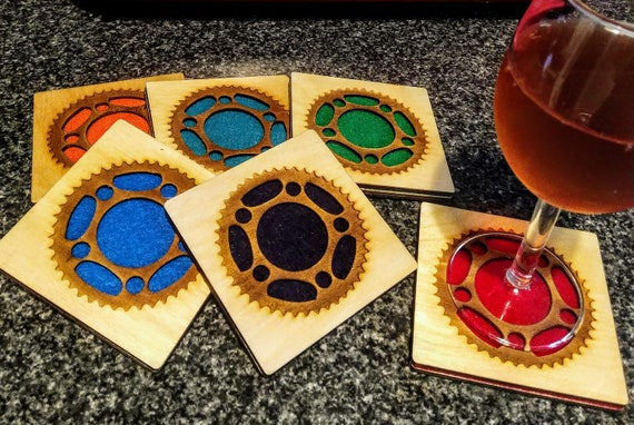 6 Gear Coasters laser cut natural eco-friendly Waterproof plywood birch and Felt