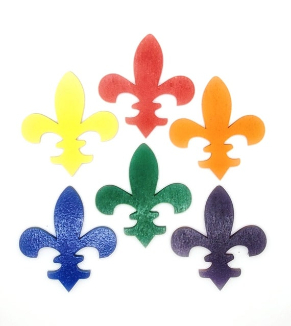 Wooden Fleur de lis Magnets 3 pcs - Fridge magnets - Wedding magnets - Save the date magnets- Custom